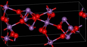 Modular diagram showing structure of cervantite with oxygen atoms in red.
