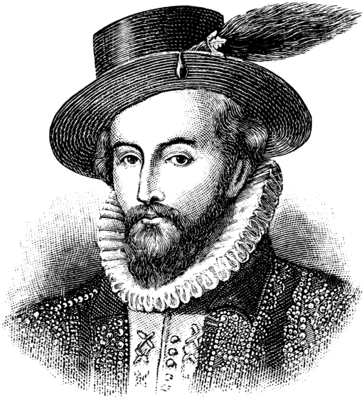 Black and White print of Sir Walter Raleigh