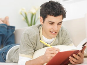 A level Student studying with a book