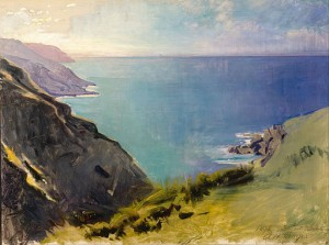 Painting of Cornish coastline