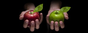 Two hands side by side, one holding a red apple and one holding a green apple.