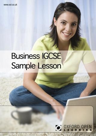 IGCSE Business Studies Sample Leasson Cover