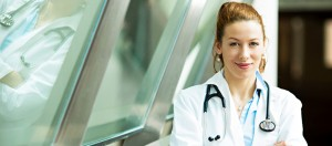 Biology Student in White lab coat with stethoscope