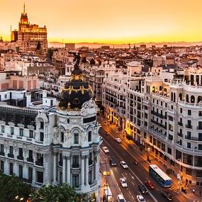 Panoramic aerial view of Gran Via, main shopping street in Madrid, capital of Spain, Europe.