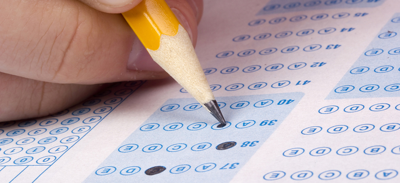 Student sitting multiple choice test