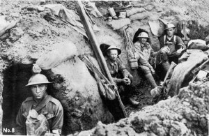 StateLibQld_2_201427_Australian_Field_Ambulance_officers_sheltering_in_trench