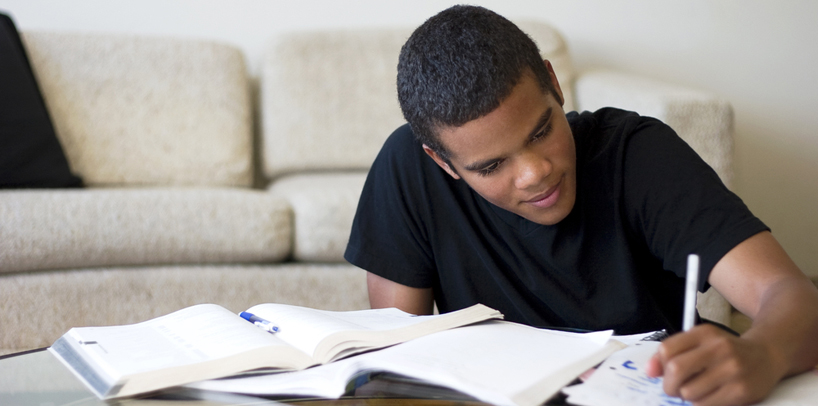 A level distance learning student studying from home