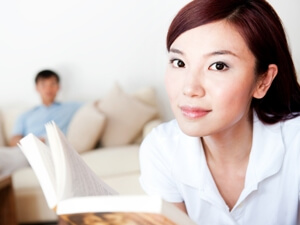 Distance learning student reading