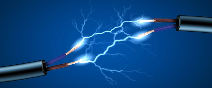 Image showing electricity sparking between two wires