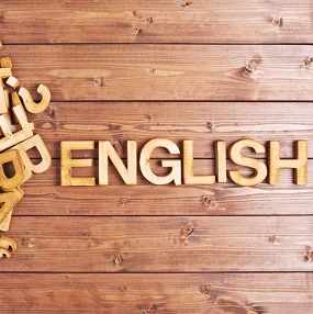 Wooden letter arranging the word English