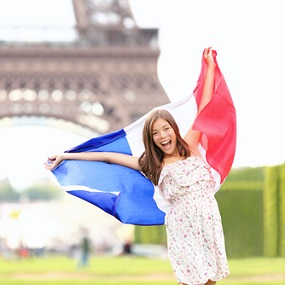 French Student outside the Eiffel Tower