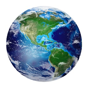 The world shown in globe form